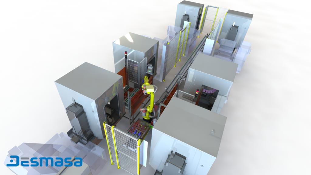 Carga y descarga de CNC Robotización Industrial